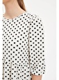 DeFacto Puantiyeli Uzun Kollu Elbise Beyaz